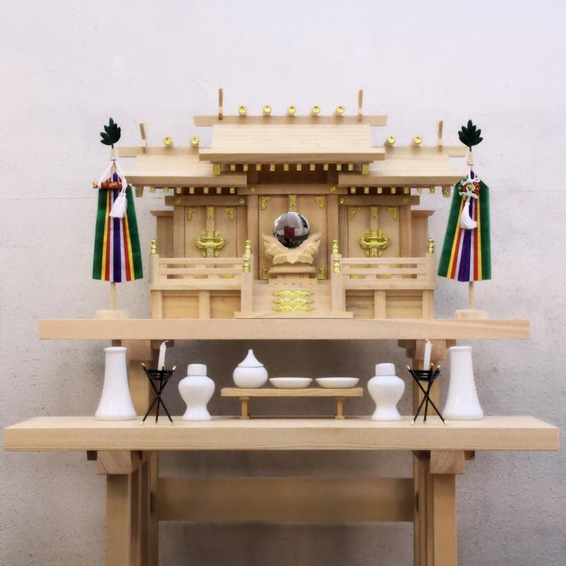 おまかせ工房 長尺スタイルの組立式八足台 神棚の祭り方